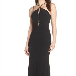 XSCAPE Strappy Lace Inset Trumpet Gown black/nud